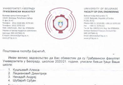 Priznanje našoj školi od Građevinskog fakulteta iz Beograda